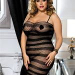 Plus Size Black Fishnet Mesh Bodystocking - Front View